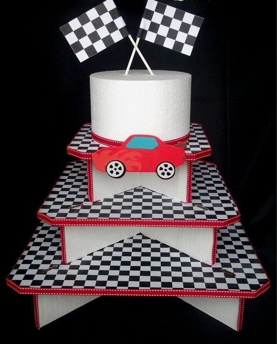 Items similar to race car cupcake stand 3 tier on etsy - Bases para cupcakes ...