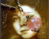 Rose Quartz Exotic Flower Necklace, Downton Abbey Style