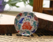 The 12mm,14mm,16mm,18mm,20mm,25mm Round Glass Cabochons China flower,jewelry Cabochons finding beads,Glass Cabochons,blue-and-white--02
