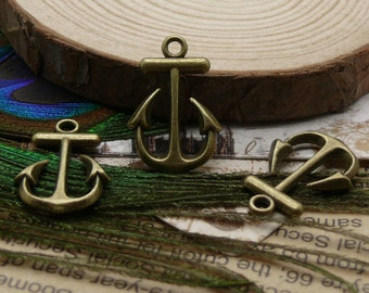 12pcs of Antiqued  brass  Anchor Beads,jewelry findings,Anchor pendant 15x23mm