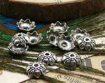 50 pcs of Antique silver metal lovely flower bead cups 9mm,beadcap findings