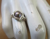 Lavender Freshwater Pearl  Brass Wrapped Ring Any Size, Any Size 4,5,6,7,8,9,10,12,13,14,15,16