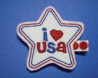 I Love USA Star Felt Hair Clip - Clippie - For Infant Toddler Girl