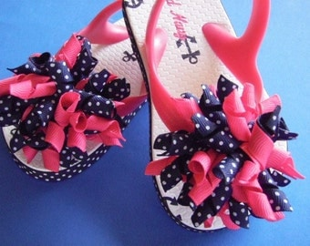 Nautical Anchor Flip Flops - Hot Pink & Navy Blue Swiss Dot - Korker Bows...Toddler Size 8 (2T)