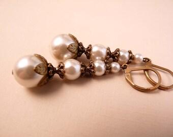 Pearl Earrings Brass Earrings Beaded Jewelry Pearl Jewelry Brass Jewelry Beaded Earrings