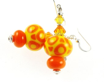 Glass Bead Jewelry, Yellow Orange Lampwork Earrings, Lampwork Jewelry, Dangle Earrings, Colorful Earrings, Beadwork Earrings