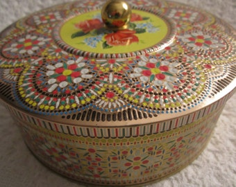 FALL SALE Vintage England ROSE Mosaic Tin Container Gold Knob Daher