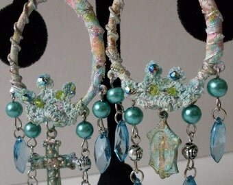 Funky Bohemian Gypsy Style Religious Textile Earrings  LJO Collection Jewelry