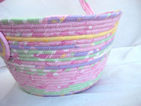 Handmade Cotton Baskets : Handmade easter basket cotton candy bowl pink egg