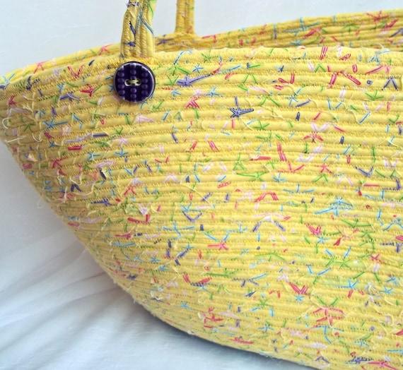 Yellow Beach Bag, SALE... Handmade Tote Bag, Yellow Starfish Handbag, Market Basket, hand wrapped and hand coiled    OOAK