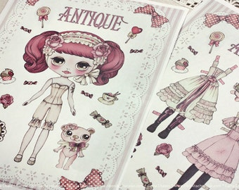 Antique paper doll - made to order