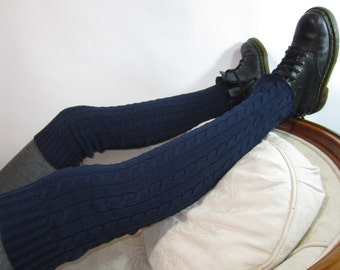 Cable Thigh High Leg Warmers Tights Thick Over the Knee Socks Navy Blue A1049