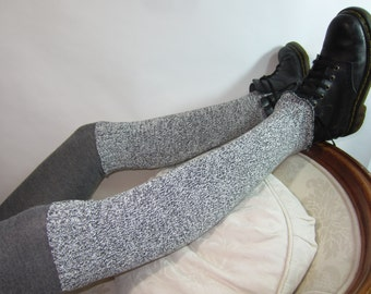 Black / White Leg Warmers Thigh High Over the Knee Knit Boot Sock A1051 A925
