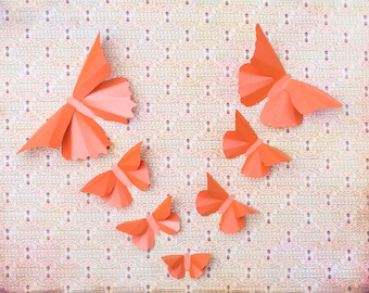 3D Butterfly Wall Art: 20 Metallic Butterfly Silhouettes for Girls Room, Nursery, and Home Art Decor in Carrot Orange