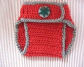 Red and Gray Crocheted Diaper Cover With Fabric Covered Button