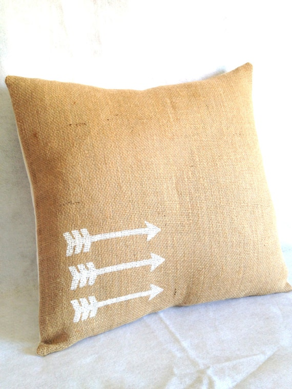 Geometric Arrows Burlap Pillow Cover 18 x 18