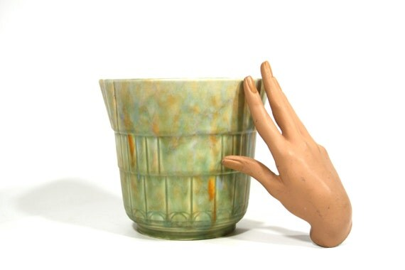Art Deco Beswick Ware Vase - Vintage Pottery - Planter - Ceramic - Green - Drip Glaze