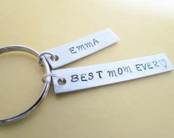Key Chain Best MOM Ever plus 1 name tag Hand Stamped Aluminum Metal MOTHERS DAY Moms Key Ring Keyring Kids Name