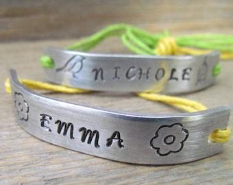 Friendship Bracelets BFF Set of 2 NAMES  Custom Hand Stamped Name Tie On Hemp Cord Girls Bracelet