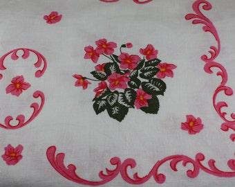 Vintage Tablecloth Cottage Chic Pink Green Floral Violets