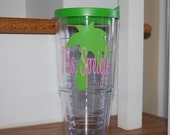 Beach palm tree Vinyl Personalized tervis style tumbler 24 oz insulated BPA free double walled Monogrammed for you