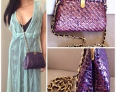 RESERVED - Made in Italy Cross Body Bag - vintage Purple woven purse from Vintage Floozy