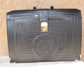 SALE   Tooled Black Leather Hinged Brief Case
