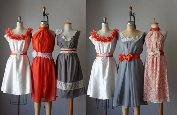 mismatched bridesmaids dresses  / Romantic / lace / orange/ gray   / Fairy / Dreamy / Bridesmaid / Party / wedding / Bride