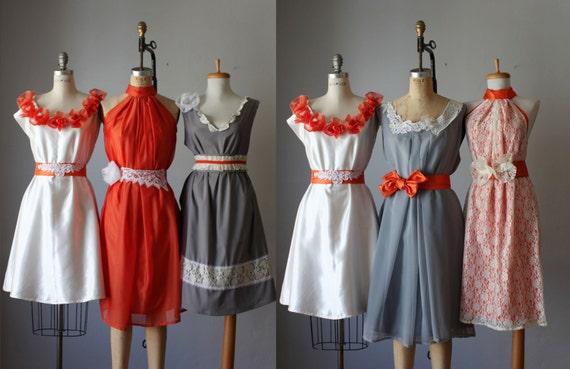 mismatched bridesmaids dresses  / Romantic / lace / orange/ gray   / Fairy / Dreamy / Bridesmaid / Party / wedding / Bride