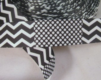 "Black and White Chevron & Dots Grosgrain Ribbon 7/8"""