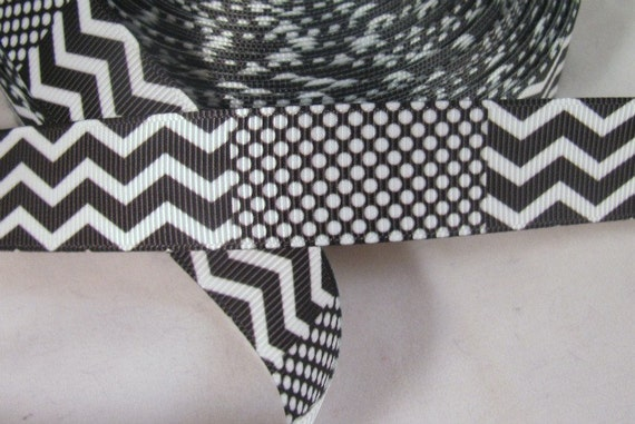 Black and White Chevron & Dots Grosgrain Ribbon 7/8""