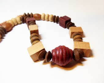 Boho Necklace- Wood Bead Necklace- Statement Necklace- 1980 Necklace- Carved Wood Necklace- Tribal Necklace- Beaded Necklace