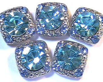 """Five 1/2"""" Square 2 Hole Slider Beads 2 Hole Spacer Beads 8mm Aqua Marine Blue & 2mm Lt. Sapphire Blue Austrian Crystal In Silver Tone Metal"""