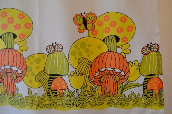 Vintage Cafe Curtains 1970's Mushrooms and Butterflies Orange, Yellow and Avocado on White Cotton