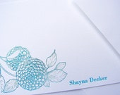Personalized Letterpress Stationery Dahlias Teal