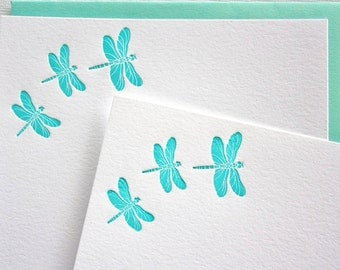 Personalized Letterpress Stationery Dragonfly Aqua Blue