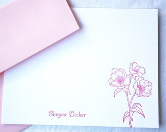 Personalized Letterpress Stationery Pink Peony Blossoms