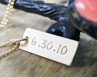 gold wedding date necklace, anniversary, baby birth 14kt gold filled handstamped small dog tag style charm