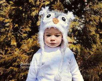 Crochet Owl Hat, Baby Girl Owl Hat, Toddler Owl Hat, Child Owl Hat, Snow White Fuzzy Owl Hat, Crochet hat for Baby