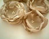 Fabric flowers ---6 dusty mocha --- upcycled