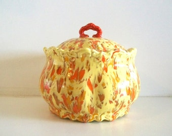 Vintage Handmade Ceramic Red Yellow Lidded Pot