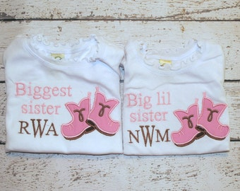 Sibling Boots Applique Shirt or Bodysuit with Little, BIg, Middle, Big Lil, Sister
