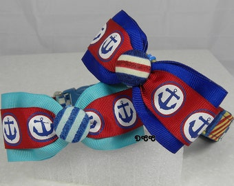 Dog Collar Nautical Maritime Print Flags Ocean Sailing w Red Blue Anchor Ribbon Bow Tie Adjustable D Ring Choose Size Boat Beach Accessory