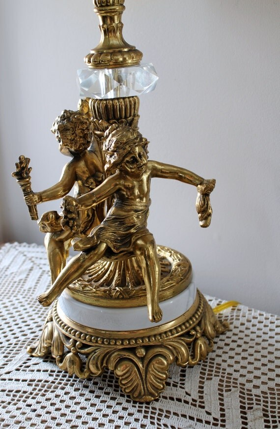 Reserved Vintage Brass Cherub And Marble Lamp