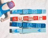 SUMMER BEACH CLOTHESPINS hand painted magnet pegs