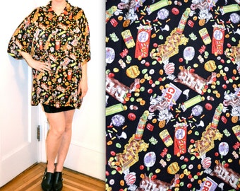 90s Vintage Nicole Miller Silk Shirt with Candy Junk food Print Size Medium Large XL