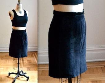 Vintage Black Leather Skirt Size Medium 90s Black Suede Skirt
