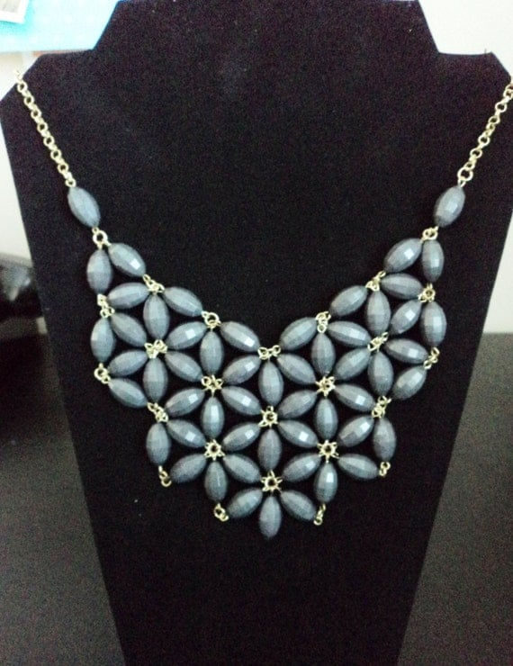 grey grid bib statement necklace