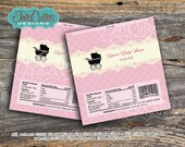 Lace Cream Pink Vintage Stroller Baby Shower - Chocolate Bar Wrappers - Girl - DIY Printable PDF file - Personalized Candy Bar Wrapper