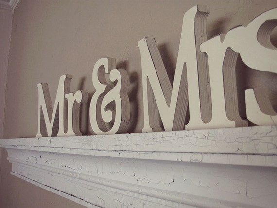 Mr. and Mrs. Wedding Decor Wooden Letters by VintageShore